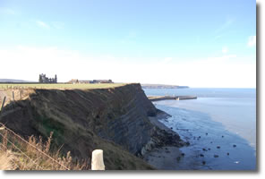 looking back on Whitby Abbey and Harbour entrance
