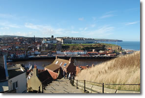 looking across Whitby from the top of the steps to the Abbey