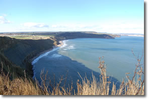 view back over Cayton Bay