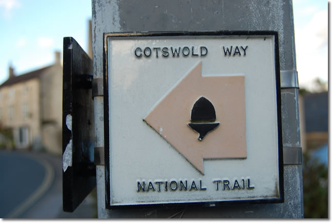 Cotswold Way national Trail directional sign