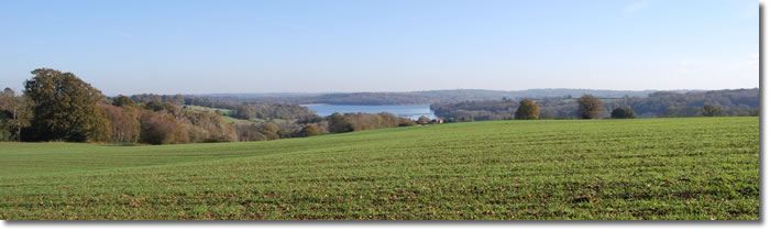 landscape of East Sussex above Bewl Water on the Sussex Border Path