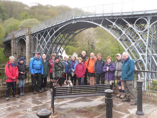 Ironbridge Gorge Walking Festival group at Iron Bridge